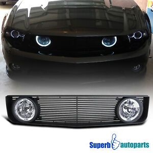For 2005 2009 Ford Mustang V6 Matte Black Hood Grille W Halo Bumper Lights