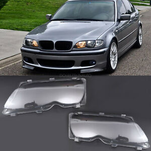 Pair Pc Headlight Glass Lens Lamp Cover For Bmw E46 3 Series 2002 2005