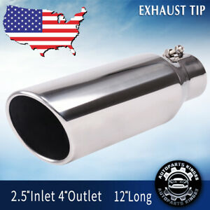 Stainless Steel Exhaust Tip Rolled Edge 2 5 Inlet 4 Outlet 12 Long Tailpipe