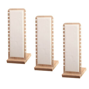 3 White Necklace Display Stand Desktop Holder Stands Rack Leather Surface