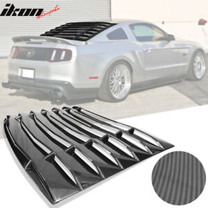 Fits 05 14 Ford Mustang Ikon Style Rear Window Louvers Carbon Fiber Print