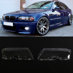 Pair Front Car Clear Headlight Cover Lens For 99 03 Bmw E46 2dr M3 2001 06 Lh rh