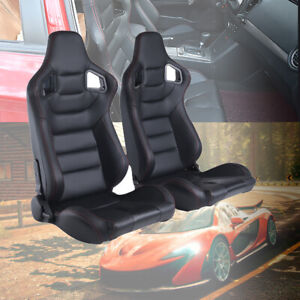 2pcs Car Racing Seats Leather Reclinable Bucket Seat Universal Black Sport Seats