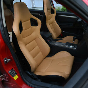 2x Car Racing Seats Leather Reclinable Bucket Seat Universal Beige Sport Seat