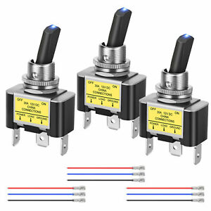3x Blue Led Rocker Lighted Toggle Switch 30a 12v Dc Spst On off 3pin Cars Boat