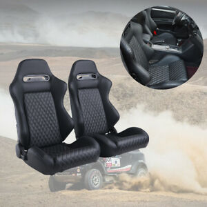2pcs Car Racing Seats Leather 2 Sliders Adjustable Recline Seat Universal Black