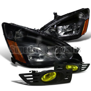 For 2003 2005 Honda Accord 2dr Coupe Headlights Black bumper Fog Light