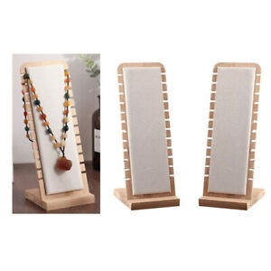 2x White Elegant Necklace Display Stand Jewelry Pendant Holder Suede Surface
