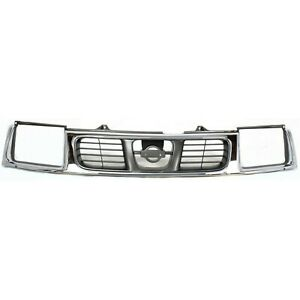 Grille For 98 2000 Nissan Frontier Chrome Shell W Silver Insert Plastic