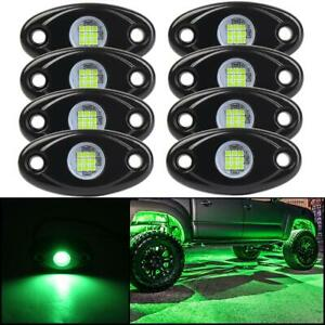 8x Green Led Rock Light Off Road Under Wheel Decorate Accessories Lamp Car Boat