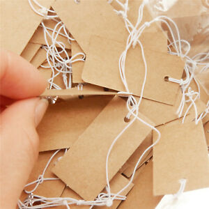 1000pcs Paper Price Tags Blank Brown Tie String Hang Label Jewelry Display 4x2cm