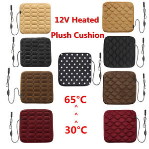 12v Car Seat Heated Plush Cushion Cover Heating Heater Winter Warmer Pad 4colors