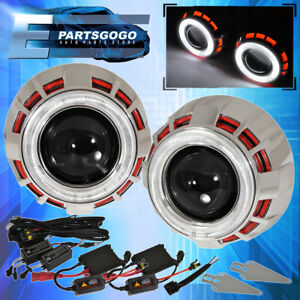 For Dodge White Red Dual Halo Rings Shroud 2 5 Projector Retrofit Headlight
