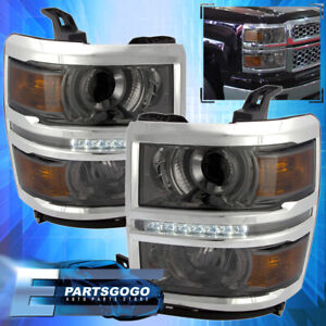 For 2014 2015 Chevy Silverado 1500 Smoke Lens Amber Projector Led Drl Headlights