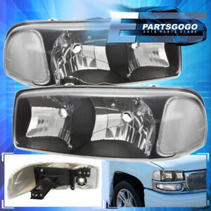 For 2000 2006 Gmc Yukon Black Housing Clear Reflector Headlights Assembly Corner