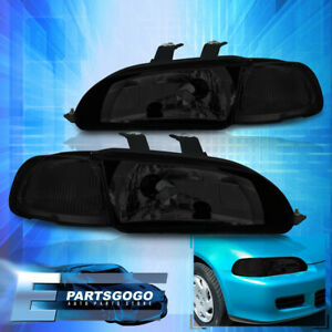 For 92 95 Civic 4dr Smoked Front Bumper Replacement Head Lights Corner Lamps