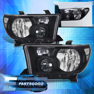 For 07 13 Toyota Tundra 08 17 Sequoia Black Clear Replacement Headlights Lamps