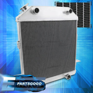 For 39 41 Ford Deluxe Mercury Flat Heat V8 3 row Core Aluminum Cooling Radiator