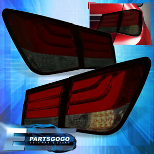 For 08 15 Chevy Cruze Tube Brake Stop Led Signal Tail Lights Lamp Pair Red Smoke