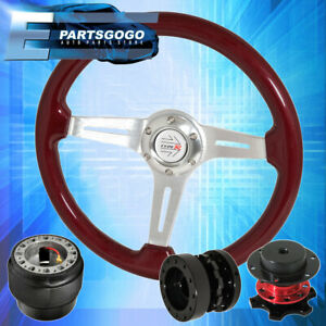 For 90 97 Miata Red Wood Deep Dish Steering Wheel Quick Release Extender