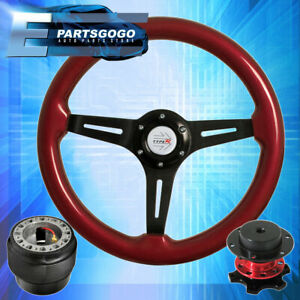 Red Wood Black Deep Dish Steering Wheel Red Quick Release For 90 97 Miata