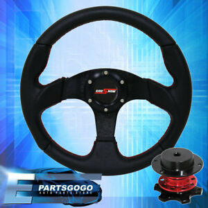 Pvc Leather Steering Wheel Red Quick Release Godsnow Button Universal