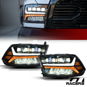 For 2009 2018 Dodge Ram Black Full Led Sequential Tube Quad Projector Headlights