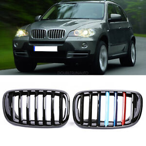 Glossy Black M Color Front Grille Grill Kidney For 2007 2013 Bmw X5 X6 E70