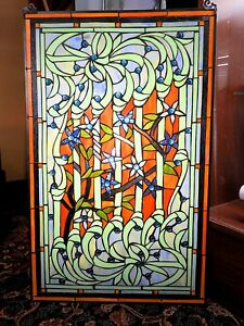 Stained Glass Window Vintage Floral Vine Pattern Blue Beads Intricately Detailed