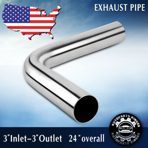 3 76mm Exhaust Pipe Tubing 90 Degree Bend 24 Length Piping Tubing Stainless
