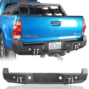 Steel Rear Bumper W License Plate Mount Point D Rings For Toyota Tacoma 05 15