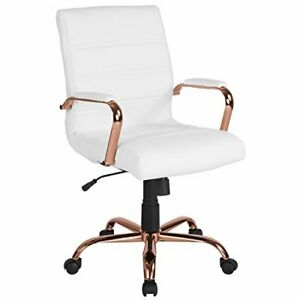 Mid back White Leather Executive Swivel Chair With Rose Gold Frame And Arms