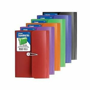 Bazic 7 pocket Letter Size Poly Expanding File Case Of 12