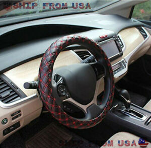 Fit 38cm 15 Auto Steering Wheel Cover Pu Leather Black Red Mesh Universal