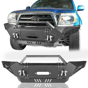 Steel Full Width Front Bumper W Winch Plate spotlights For Toyota Tacoma 05 15