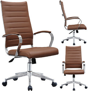 Ribbed Leather Adjustable Office Chair Cushion Seat High Back Computer Desk Seat