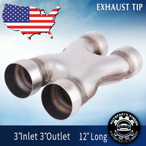 Dual 3 Inlet outlet X Pipe Stainless Steel Stamped Exhaust Pipe Reduce Noice