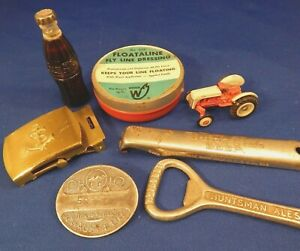 Junk Drawer Lot - Antique  Advertising Collectibles Coca Cola Lighter & More