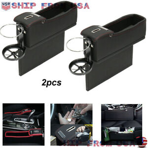 2pcs Car Seat Seam Gap Filler Storage Box Organizer Black Pu Leather Universal