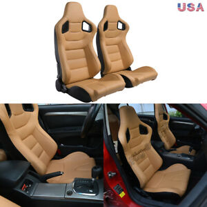 2pcs Car Racing Seats Pu Leather Beige Tan Seats Recline Universal W 2 Sliders