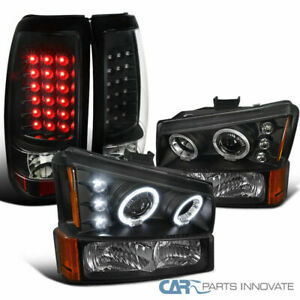 For 03 07 Silverado Black Halo Projector Headlights bumper Lamps led Tail Lights