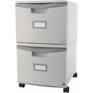 2 drawer Gray File Mobile Cabinet With Lock Rolling Wheels Letter Legal Storage