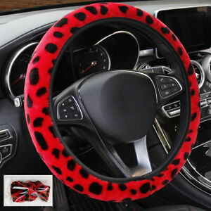 Red Leopard Print Plush Car Steering Wheel Cover Winter Warmer For Women Lady