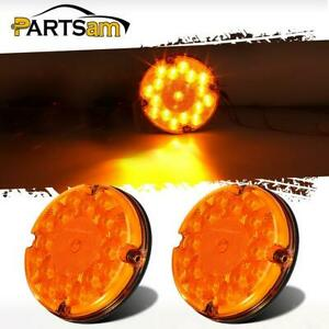 2 Amber 7 Round Led Stop Turn Signal Tail Brake Bus Truck Trailer Rear Light