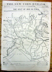 Best 1859 Display Newspaper W Large Detailed Map Headlines Unification Of Italy