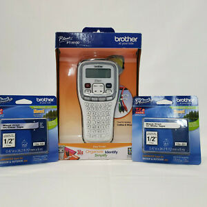 Brother P touch Easy Hand held Label Maker Pt h100 Plus 2 Tape Cartridges Bundle