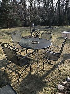 Vintage Russell Woodard Patio Set 4 Spring Bounce Chairs