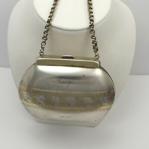 Victorian Sterling Silver Gold Wash Engraved Accents Hard Coin Purse 117 2 Grams