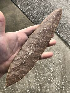 Huge 11 3 4 Pre Columbian Aztec Flint Blade Knife Massive Thin Mayan Sword