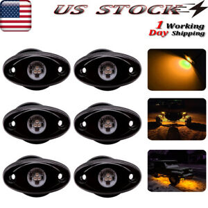 6x 9w Led Rock Light For Jeep Offroad Truck Atv Fender Underbody Lights Amber